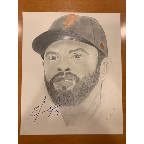 Photo of Giants End of Season Auction: Brandon Belt Autographed Portrait Sketch