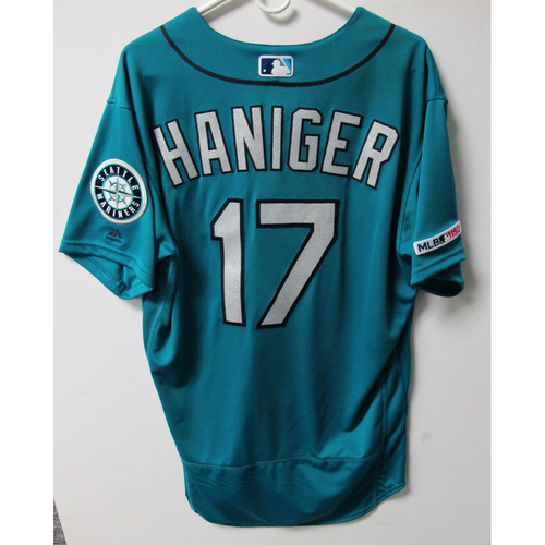 Photo of Mitch Haniger Game-Used Green Jersey - Worn 5-31-2019 - Size 46