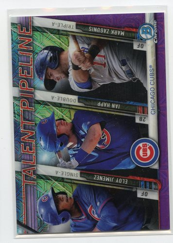 Photo of 2017 Bowman Chrome Mega Box Talent Pipeline Purple Refractors  Eloy Jimenez/Ian Happ/Mark Zagunis 14