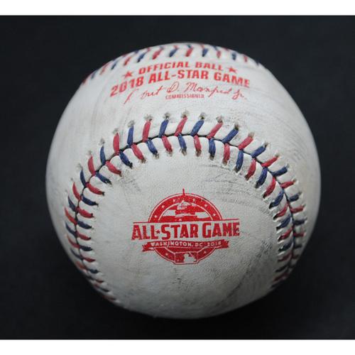 Photo of 2018 All-Star Game (7/17/2018) - Game-Used Baseball - Top 2nd, Batter - Salvador Perez (Kansas City Royals), Pitcher - Max Scherzer (Washington Nationals) - Foul