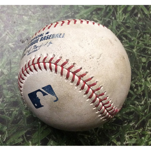 Photo of Game-Used Baseball NYM@MIL 05/04/19 - Chris Flexen - Ryan Braun: 17th Inning Double (Hit #5 of 6 in 18-Inning Game, Longest Game in Miller Park History)