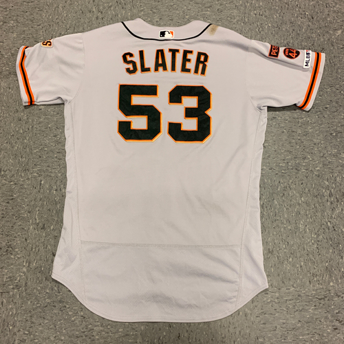 Photo of 2019 Game Used Road Alt Jersey worn by #53 Austin Slater on 9/22 @ Atlanta Braves - Size 46