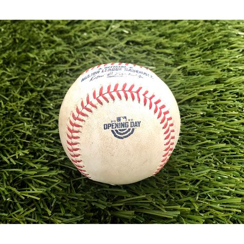 2020 Opening Day: Game-Used Baseball: Giancarlo Stanton Home Run - 1st HR of 2020 Season