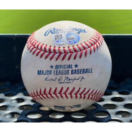 Photo of Game-Used Baseball - Pitcher: German Marquez, Batter: Shin-Soo Choo (RBI Single to Garrett Hampson) - August 15, 2020 vs. Texas Rangers