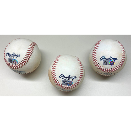 Photo of Minnesota Twins Game-Used Baseball Collection #2: Jake Cave Single, Jake Cave Double, and Jorge Polanco RBI single (MLB AUTHENTICATED)