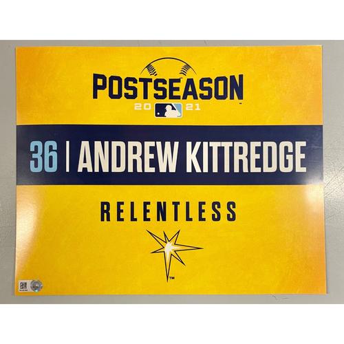 Photo of Game Used ALDS Locker Tag: Andrew Kittredge - Game 1 & 2 - October 7-8, 2021 v BOS