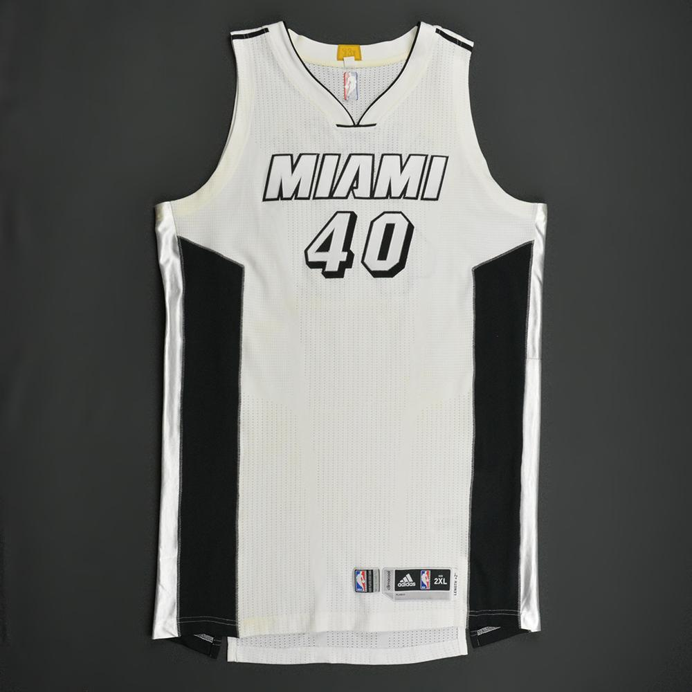 45e56a32d8e Udonis Haslem - Miami Heat - White Alternate Game-Worn Jersey - 2016 ...