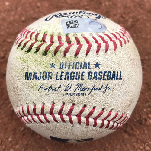 San Francisco Giants - 2017 Game-Used Baseball - Matt Moore pitches to Jon Jay and Kris Bryant (August 7th: Jay single)