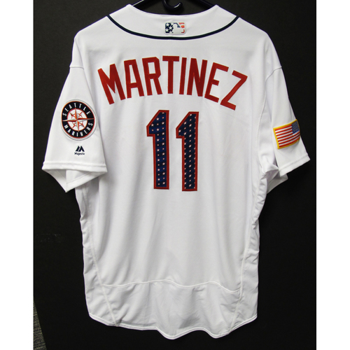 Photo of Edgar Martinez Team-Issued 4th of July White Jersey KC at SEA - 7-4-2017 . Jersey Size - 48