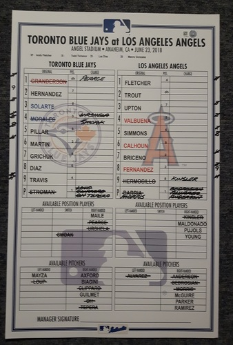 Photo of Authenticated Game Used Line Up Card - June 23, 2018 vs LA Angels: 5 Shutout Innings by Marcus Stroman in his return from the DL