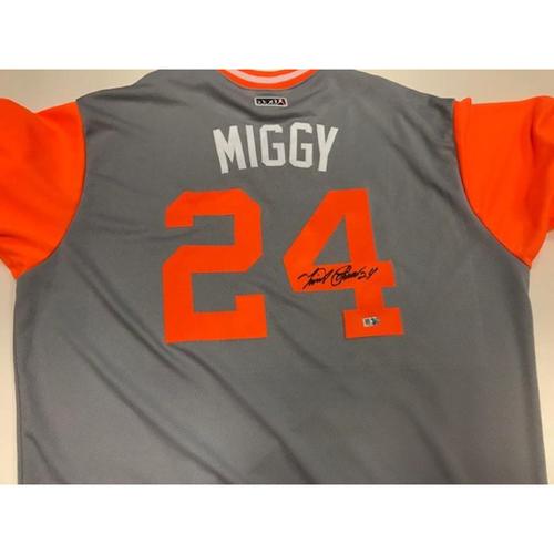 "Photo of Autographed Replica Miguel Cabrera Nickname Jersey ""Miggy"""