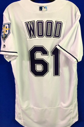 Photo of 20th Anniversary Game Used Devil Rays Jersey: Hunter Wood - September 8 v BAL