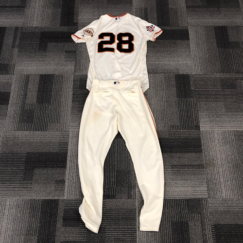 Photo of 2018 Game Used Home Cream Jersey & 2018 Team Issued Pants - #28 Buster Posey - Jersey was worn on July 29th - 4 Hits, 3 RBI - Size 46