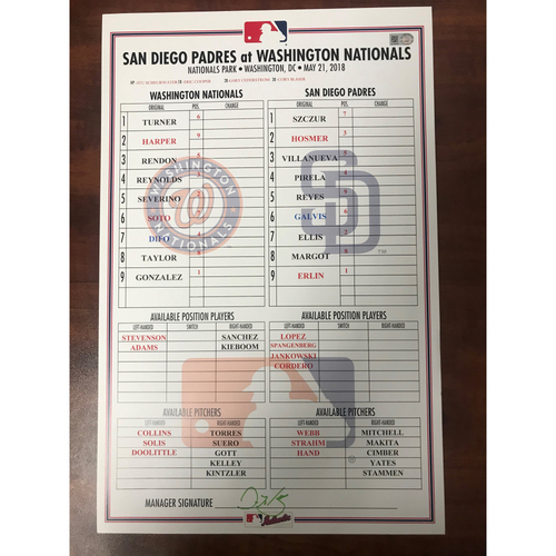 Photo of Replica Lineup Card - Soto First Start