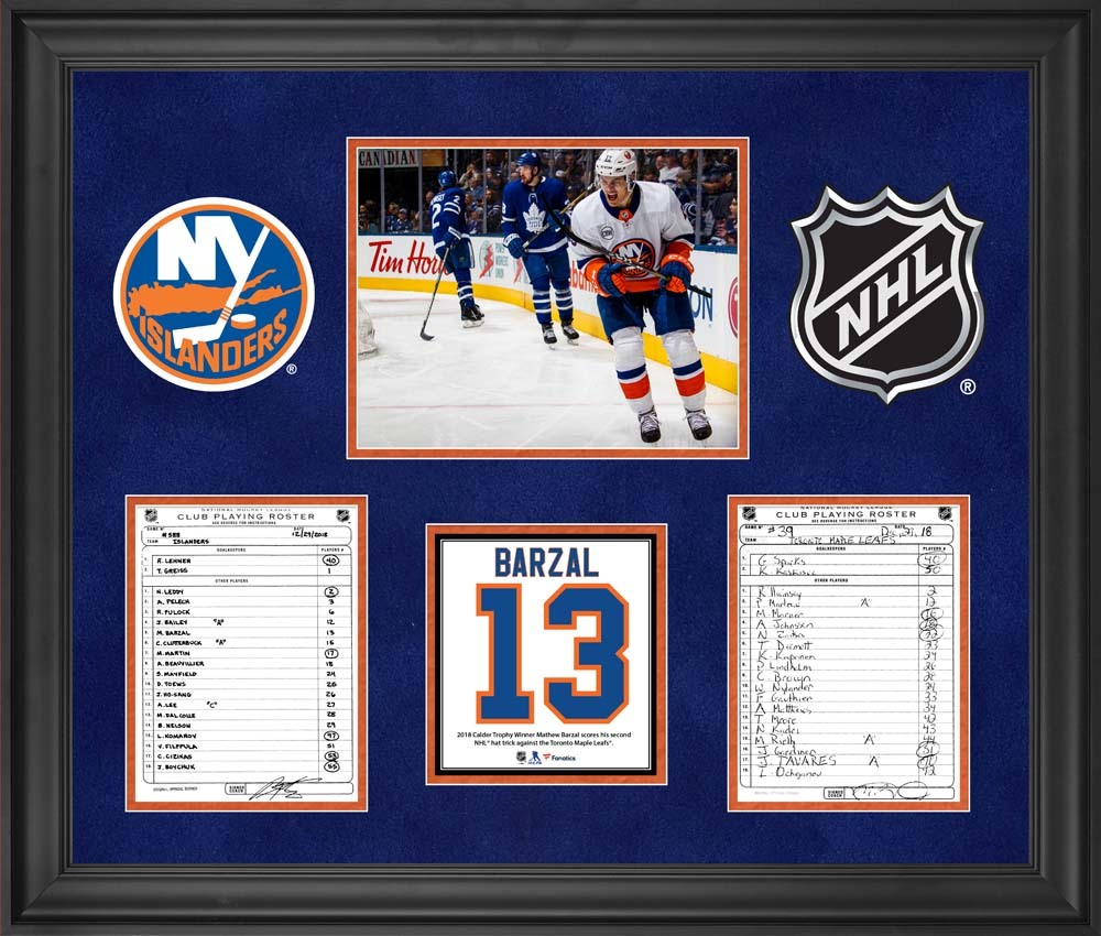 New York Islanders Framed Original Line-Up Cards from December 29, 2018 vs. Toronto Maple Leafs - Mathew Barzal Second NHL Hat Trick