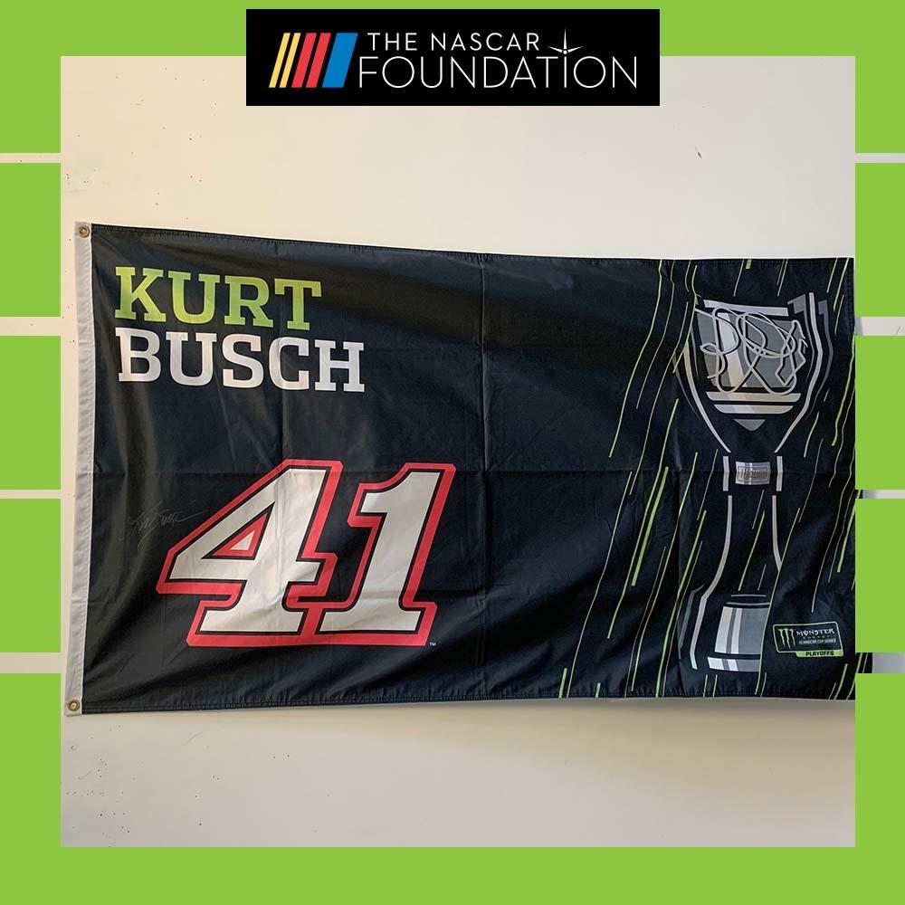 NASCAR'S Kurt Busch Autographed MENCS Playoff flag!