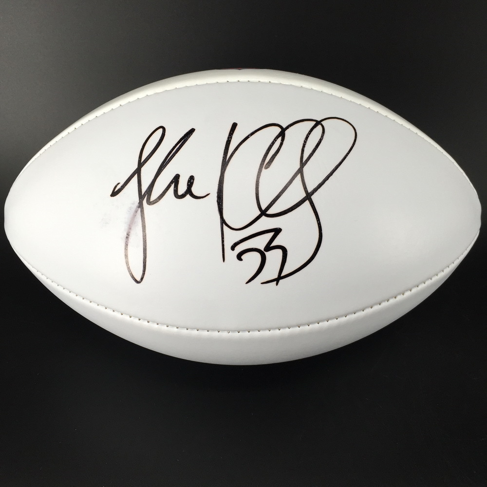 Panthers - Luke Kuechly signed NFL 100 logo white panel football