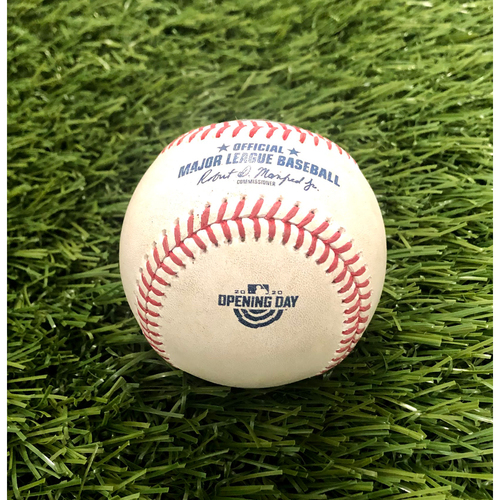 2020 Opening Day: Game-Used Baseball: Max Scherzer Strikeout of Brett Gardner