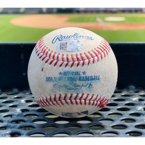 Photo of Game-Used Baseball - Pitcher: Carlos Estevez, Batter: Derek Dietrich (Home Run to left field) - August 15, 2020 vs. Texas Rangers