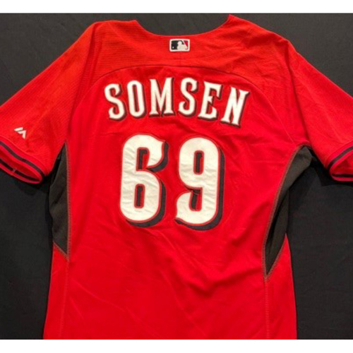 SOMSEN -- Authentic Reds Jersey -- $1 Jersey Auction -- $5 Shipping -- Size 46 (Not MLB Authenticated)