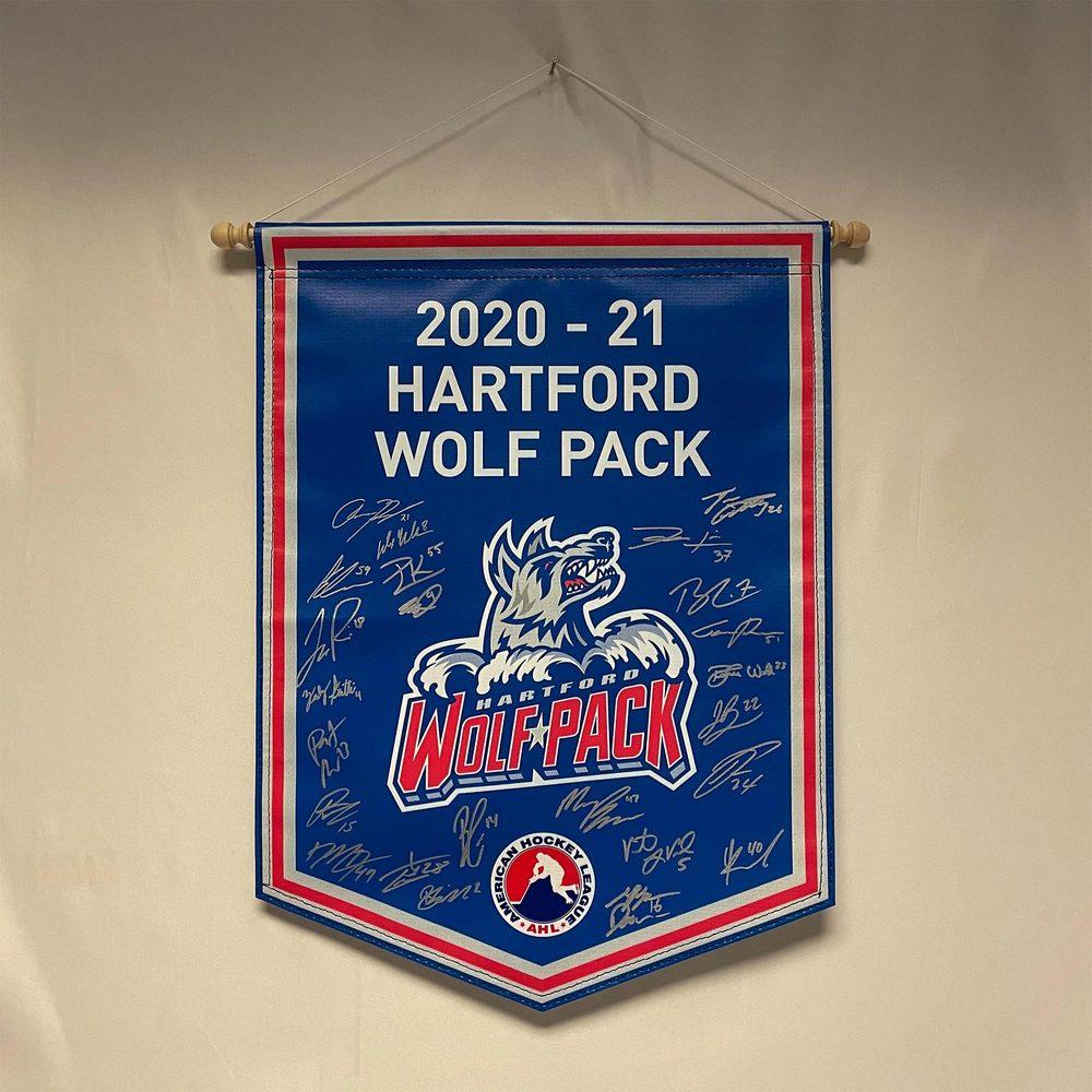 2020-21 Hartford Wolf Pack Team-Signed Banner