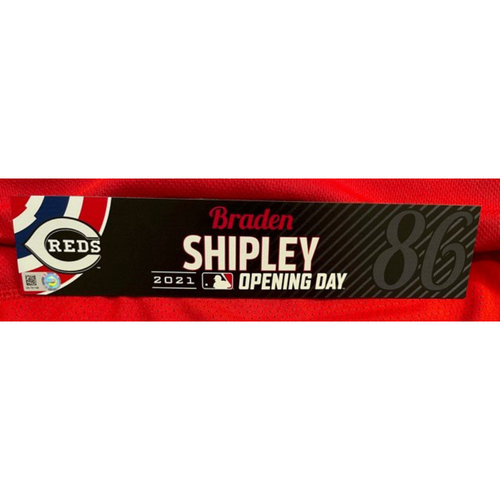 Photo of Braden Shipley -- 2021 Opening Day Locker Tag -- Team-Issued -- Cardinals vs. Reds on 4/1/21