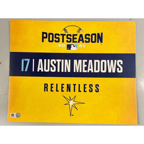 Photo of Game Used ALDS Locker Tag: Austin Meadows - Game 1 & 2 - October 7-8, 2021 v BOS