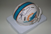 DOLPHINS - KNOWSHON MORENO SIGNED DOLPHINS MINI HELMET (LIGHT INK SPLATTER MARKS)