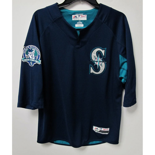 Mike Zunino Game-Used BP Jersey With Edgar Martinez Patch Worn 8-12-2017