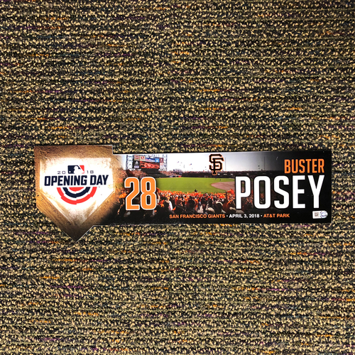 Photo of San Francisco Giants - 2018 Home Opening Day Locker Tag - #28 Buster Posey