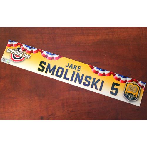 Photo of Jake Smolinski Game-Used Opening Day 2018 Locker Nameplate