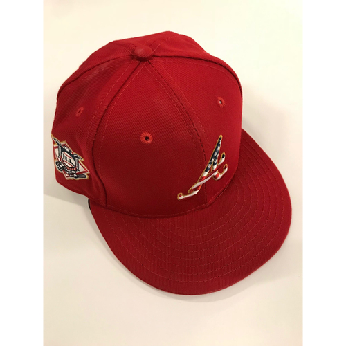 Photo of Ronald Acuna Jr. Game Used Stars and Stripes Cap - Worn 7/2/2018 - Acuna Walk-Off Home Run for Braves win over Yankees 5-3 - 2018 NL Rookie of the Year