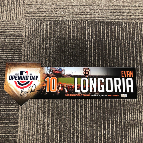 Photo of 2018 Autographed Opening Day Locker Tag - #10 Evan Longoria