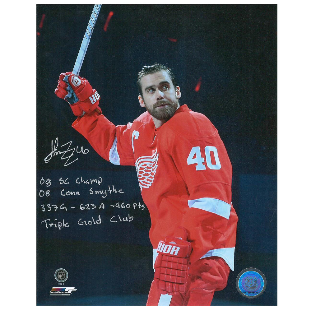HENRIK ZETTERBERG Signed Detroit Red Wings 8 X 10 Photo W/ stats - 70214 A