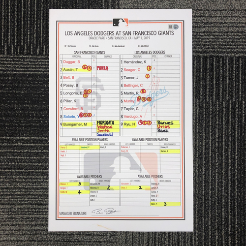 Photo of 2019 Game Used Line Up Card - SF vs LAD - May 1, 2019 - Hyun-Jin Ryu vs. Madison Bumgarner