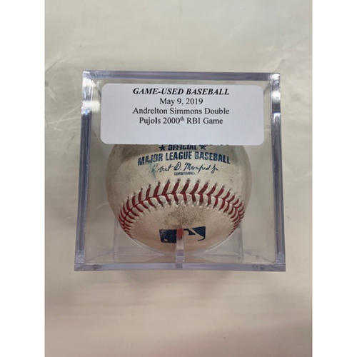 Photo of Game-Used Baseball: Andrelton Simmons Double - Albert Pujols 2,000 Career RBI Game