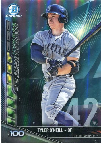 Photo of 2017 Bowman Chrome Scouts Top 100 Refractors #BTP42 Tyler O'Neill