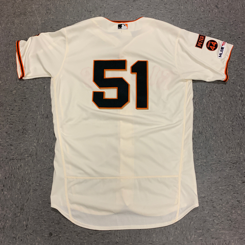 Photo of 2019 Game Used Home Cream Jersey worn by #51 Conner Menez on 9/29 vs. Los Angeles Dodgers - Bruce Bochy's Final Game - Size 46