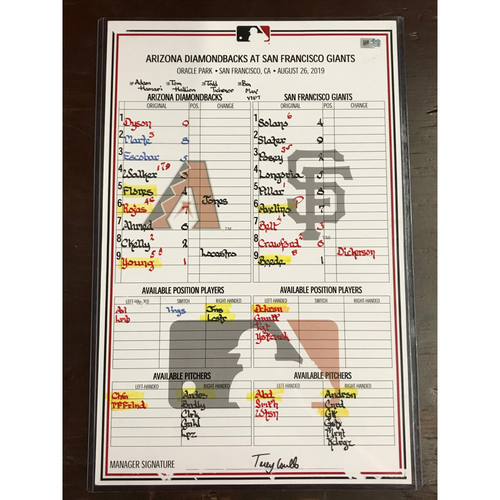 Photo of Game-Used Lineup Card: 8/26/19 at Giants, D-backs won 6-4