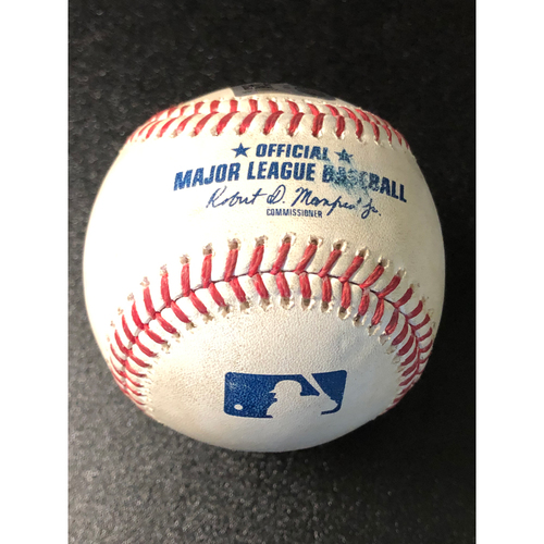 Photo of Game-Used Baseball - 2020 NLCS - Atlanta Braves vs. Los Angeles Dodgers - Game 2 - Pitcher: Ian Anderson, Batters: Corey Seager (Strike Out), Justin Turner (Fly Out to CF) - Bot 1