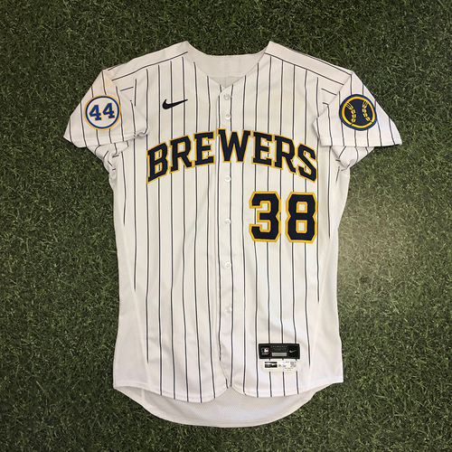 Photo of Devin Williams 2021 Game-Used Home Pinstripe Jersey