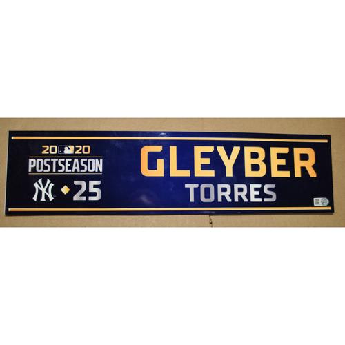 Photo of Game-Used Locker Name Plate - 2020 ALDS Game 5 - New York Yankees vs. Tampa Bay Rays - Gleyber Torres (New York Yankees)