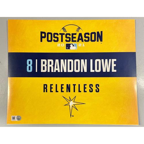 Photo of Game Used ALDS Locker Tag: Brandon Lowe - Game 1 & 2 - October 7-8, 2021 v BOS