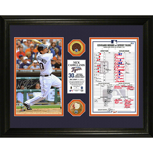 "Photo of Detroit Tigers Framed Nick Castellanos MLB Debut Autographed 16"" x 20"" Photograph & Replica Lineup Card"