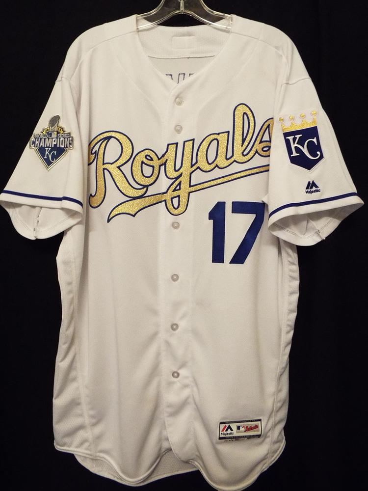 Kansas City Royals 2016 Opening Day Gold Jersey worn by Wade Davis ...