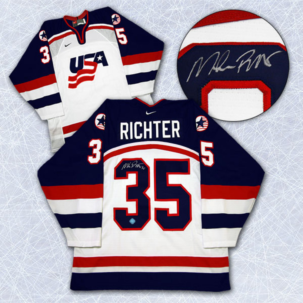 Mike Richter Team USA Autographed Olympic Nike Hockey Jersey *New York Rangers*