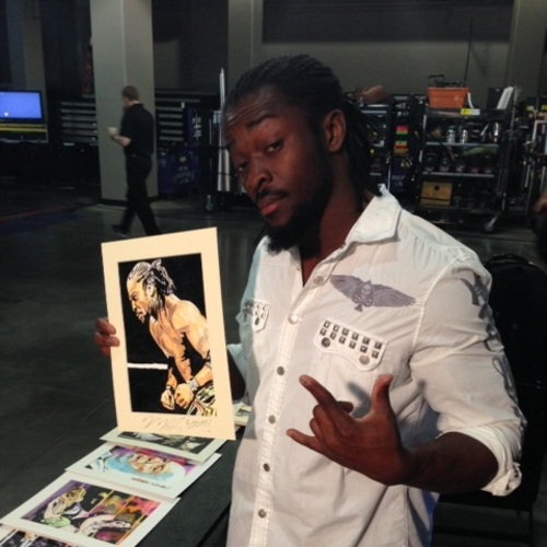 Kofi Kingston Signed Painting by Rob Schamberger