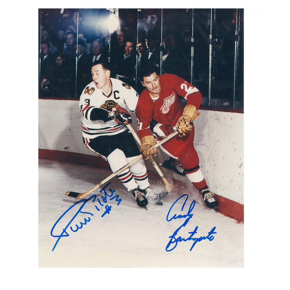 PIERRE PILOTE & ANDY BATHGATE Signed Chicago Balckhawks Detroit Red Wings 8 X 10 Photo - 70499
