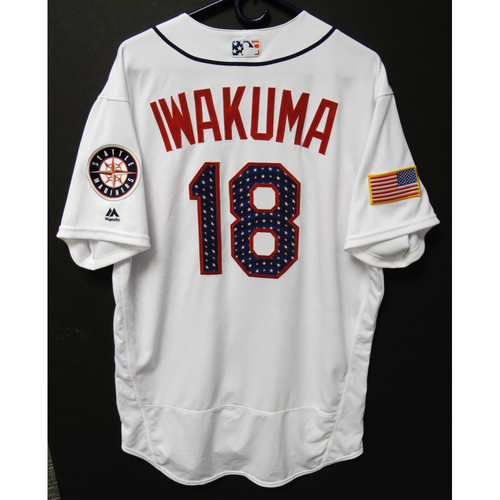 Photo of Hisashi Iwakuma Team-Issued 4th of July White Jersey KC at SEA - 7-4-2017 . Jersey Size - 48