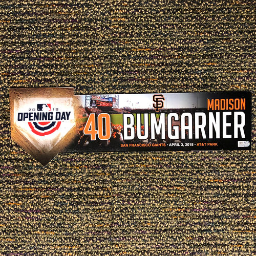 Photo of San Francisco Giants - 2018 Home Opening Day Locker Tag - #40 Madison Bumgarner